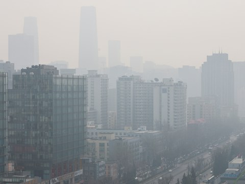 A street on a polluted day in Beijing, China, March 11, 2021.