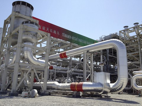This file photo shows a gas processing plant during  at Galkynysh gas field in eastern Turkmenistan.