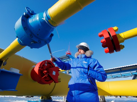 An employee checks a gas valve at the Atamanskaya compressor station, part of Gazprom's Power Of Siberia gas pipeline outside the far eastern town of Svobodny, in Amur region, Russia November 29, 2019.