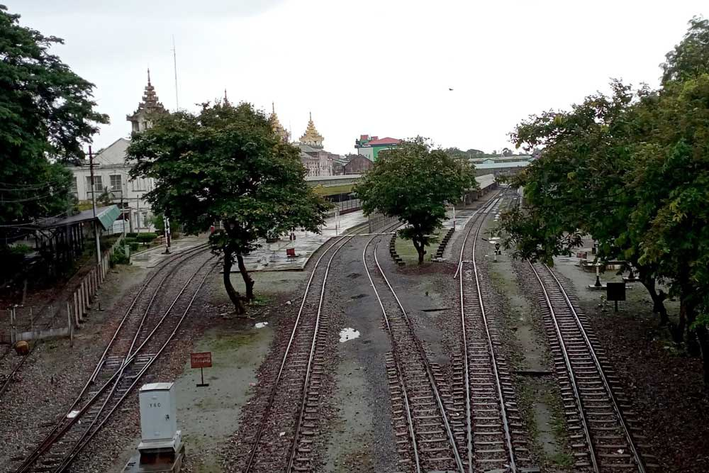 The once-bustling railyard at Yangon Central Station has become a much quieter place. (Myo Min Soe/RFA)