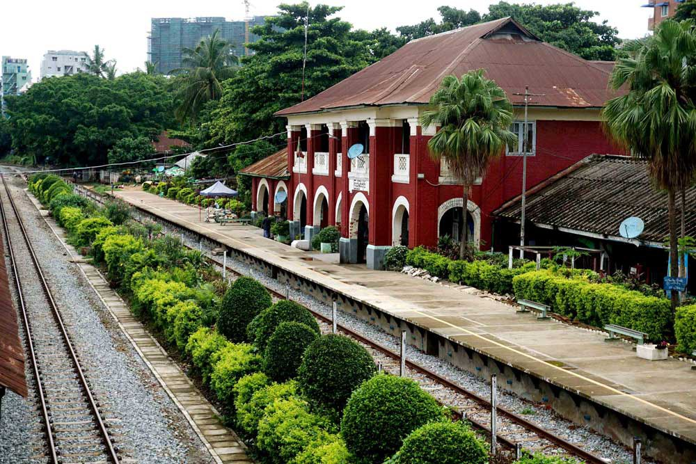Kyeemyindaing Station was built in 1928 and is one of the oldest in the system. (Myo Min Soe/RFA)