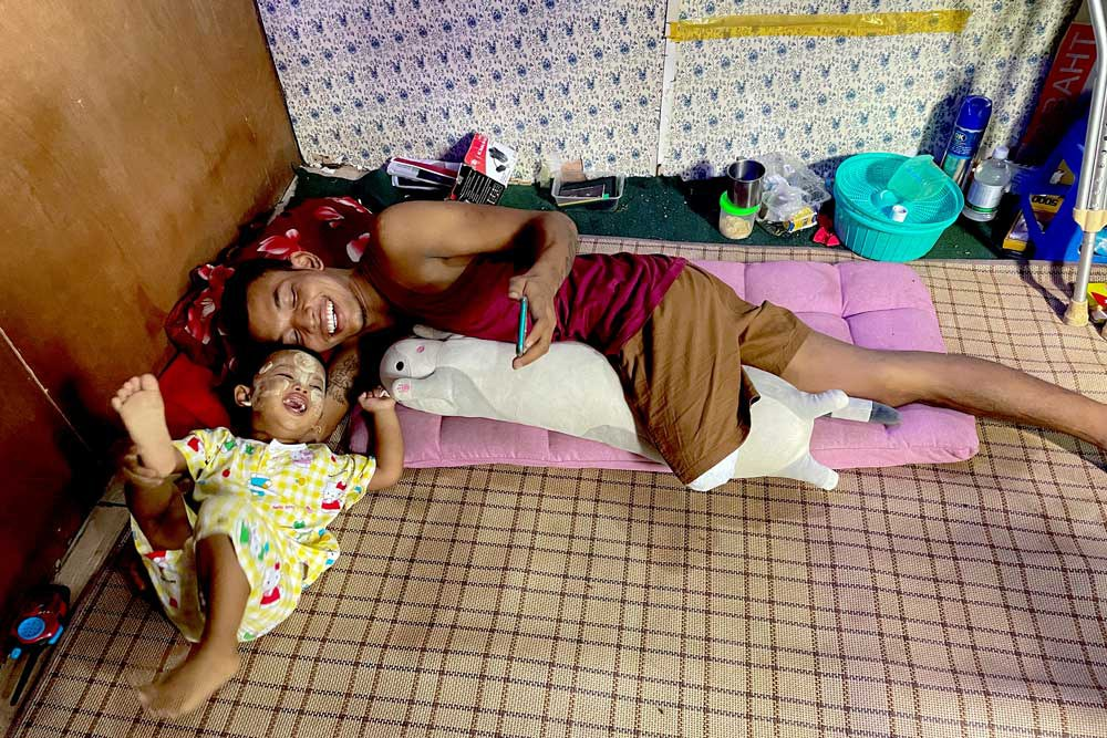 His son is adapting to Ko Phyo's new reality too, playing games with his father and bringing him snacks and cushions to make him comfortable on the floor. When the country becomes stable again, he hopes to return to his job handling vehicle licensing with the road transport authority. (REUTERS)
