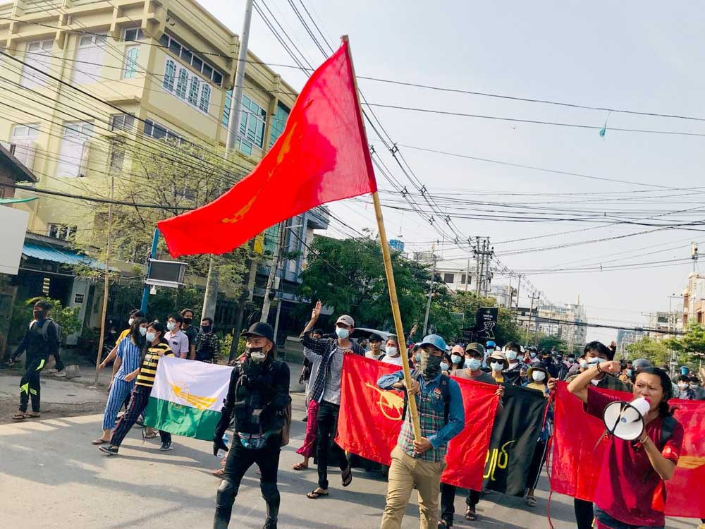 Protesters stage an anti-coup rally in Mandalay on Wednesday. (RFA)