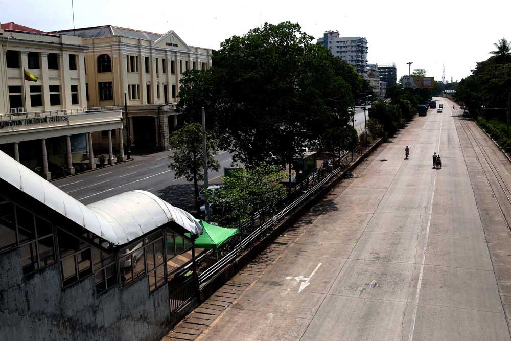 """The streets of Yangon were virtually deserted Friday as protesters held a """"Silent Strike"""" to mourn the more than 700 people killed by the military since the coup began. (RFA)"""
