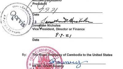 A contract signed by Cambodia's ambassador to the United States, Chum Sounry, with the the Washington, D.C. lobby firm Qorvis Communications, Sept. 15, 2021.