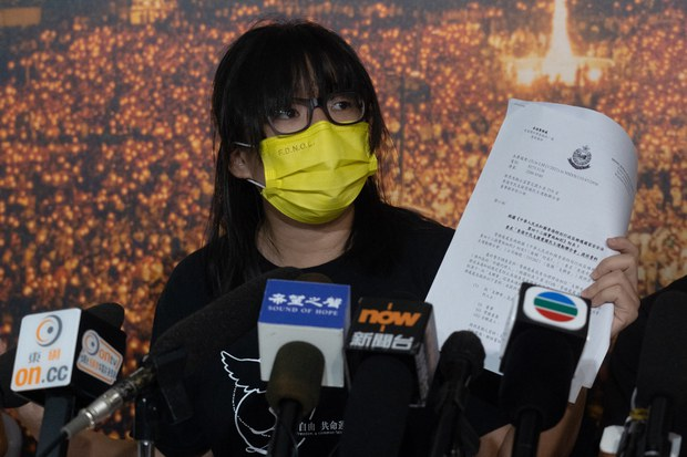 Chow Hang-tung, a member of the Hong Kong Alliance in Support of Patriotic Democratic Movements of China, speaks to reporters at the June 4th Museum in Hong Kong in a Sept. 5, 2021 photo.
