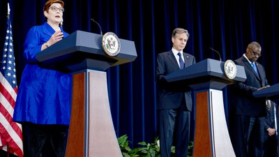 Australian Foreign Minister Marise Payne, left, accompanied by Secretary of State Antony Blinken, second from right, and Defense Secretary Lloyd Austin, right, speaks at a news conference at the State Department in Washington, Thursday, Sept. 16, 2021.