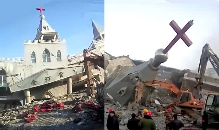 """Scenes from the demolition of Golden Lamp Church, a Protestant """"house"""" church in Shanxi Province's Linfen Prefecture. in January 2018. Credit: Golden Lamp Church"""