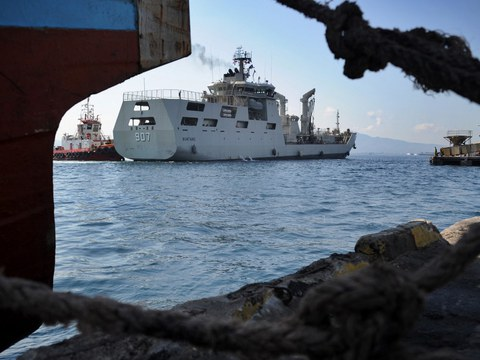The Indonesian Navy patrol boat KRI Bontang (907) pictured at a naval base in Banyuwangi, in Indonesia's East Java province on April 26, 2021. The boat is currently sailing close to a Chinese survey vessel north of Natuna, ship-tracking data show.