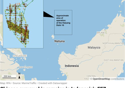 Indonesia takes cautious stance as China survey ship lingers