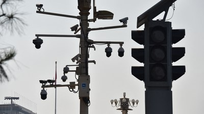 Surveillance cameras as seen on a corner of Tiananmen Square, Beijing, in a file photo.