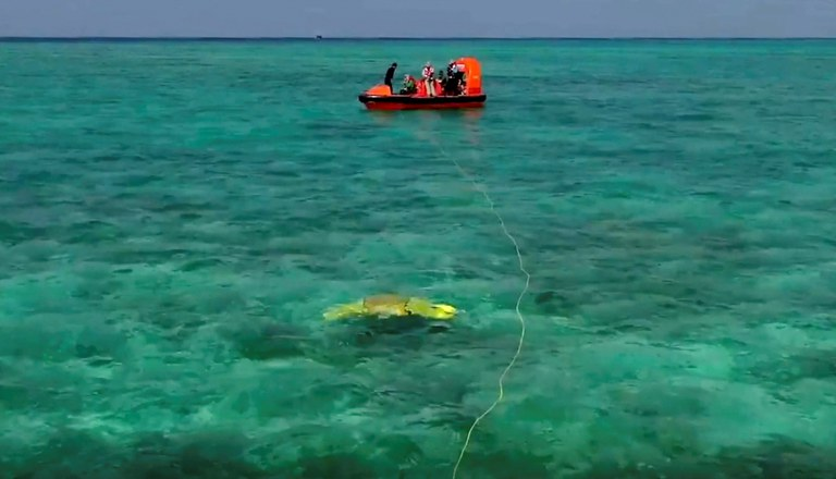 A view of China's test swim of a manta ray-shaped robot in the waters off the Paracel Islands in South China Sea in early September 2021. Credit: Xinhua News Agency.