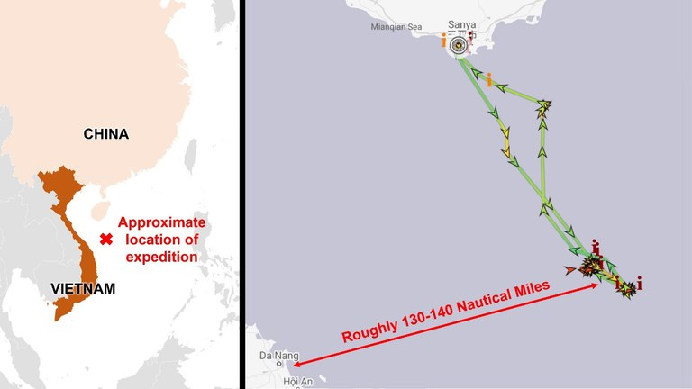 Automatic identification system (AIS) data reveals the Tan Suo 2 operating in waters disputed by China and Vietnam between Feb. 2 and Feb. 9. Credit: Data from MarineTraffic; analysis and annotation by RFA.