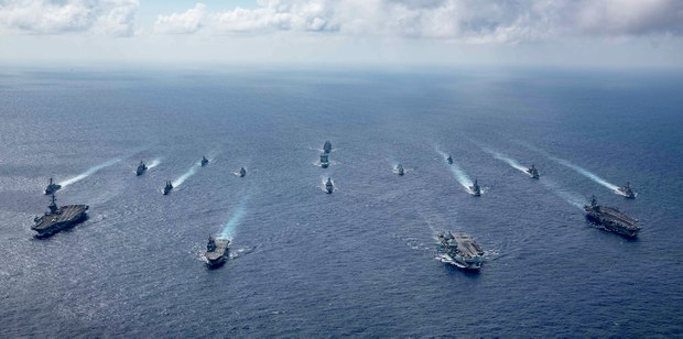 US, UK aircraft carriers lead show of naval might around South China Sea