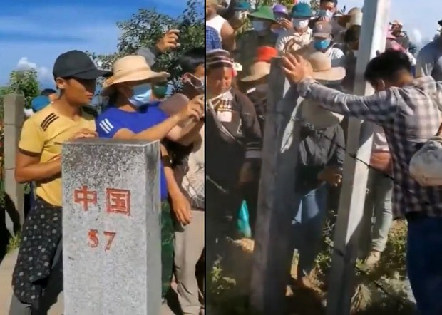 People on the Vietnamese side of the Sino-Vietnam border rally near the No. 57 border marker, Sept. 15, 2021. Credit: Citizen journalist vi RFA
