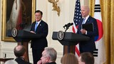 US President Joe Biden (R) and South Korean President Moon Jae-in participate in a press conference in the East Room of the White House in Washington, DC, May 21, 2021.