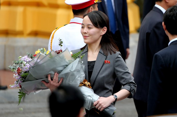 Kim Yo Jong, sister of North Korea's leader Kim Jong Un, holds a bouquet during a welcoming ceremony at the Presidential Palace in Hanoi, Vietnam March 1, 2019.