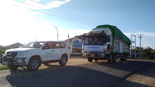 A UNHCR convoy carries relief supplies to refugees in Chin state, July 19, 2021. UNHCR