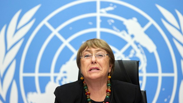 UN High Commissioner for Human Rights Michelle Bachelet speaks during a news conference at the European headquarters of the United Nations in Geneva, Switzerland, Dec. 9, 2020. Reuters