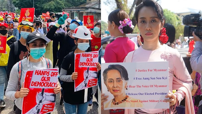 Mya Hnin Ye Lwin (left photo in the black cap) takes part in a street protest after the Feb. 1 coup; the actor (right photo) impersonates Aung San Suu Kyi during a protest. Credit: Mya Hnin Ye Lwin/Facebook