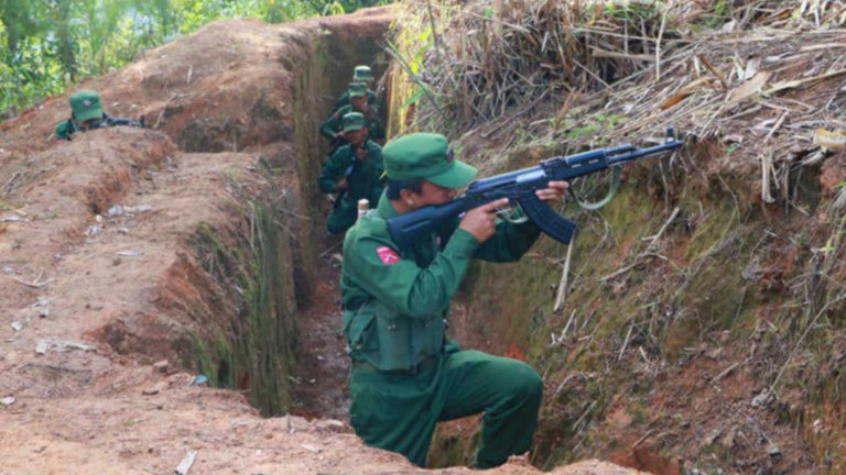 Myanmar National Democratic Alliance Army (MNDAA) fighters in an undated photo. MNDAA