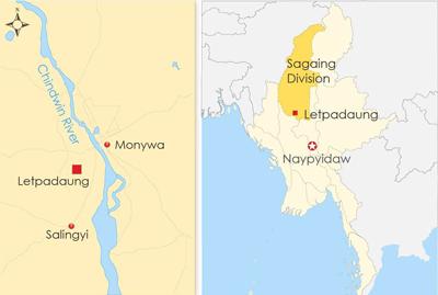 The map shows Letpadaung in Sagaing division in northwestern Myanmar.