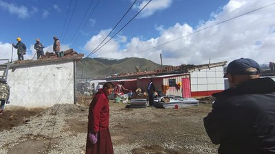 Tibetan homes destroyed in a May 22, 2021 earthquake in Qinghai are shown under reconstruction in an undated photo.