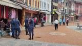 Police are seen at the Boudhanath Stupa in Nepal's capital Kathmandu, Sept. 2, 2021.
