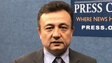Dolkun Isa, president of the World Uyghur Congress, at the National Press Club in Washington, March 7, 2018.