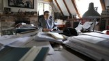 Human rights lawyer Geoffrey Nice sits at his desk at his home in Adisham, England, Sept. 2, 2020.