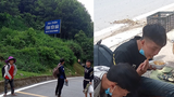 Four Hmong men walked from Hanoi to their hometown over 150 miles away in Yen Bai province, wearing only slip-on sandals in these photos published on Facebook August 30 and 31, 2021.